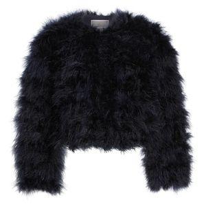 Chelsea28 Crop Faux Fur Feather Jacket